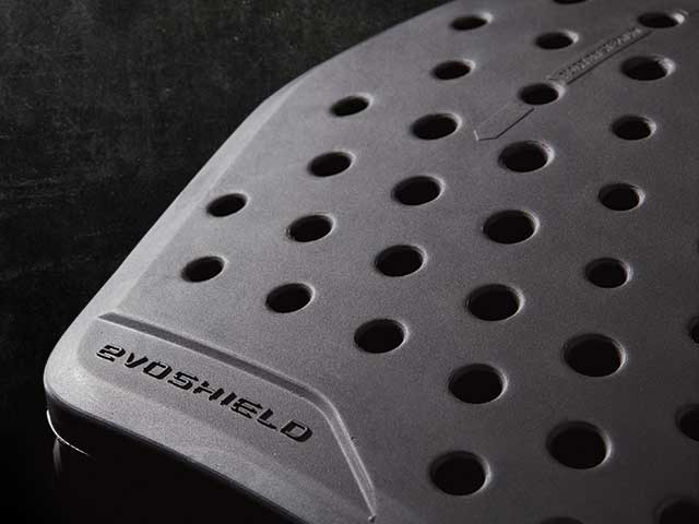 Close up of ventilation in chest guard