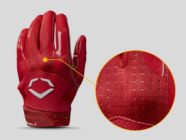 Vented panels along the back of Burst receivers gloves