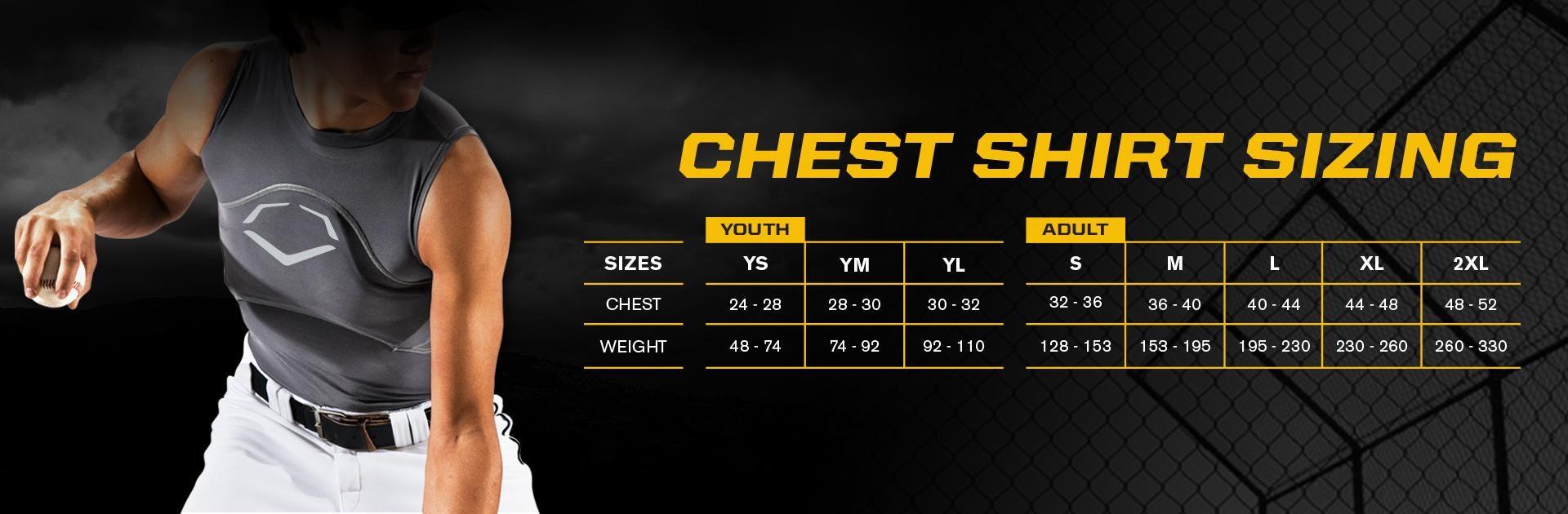 EvoShield  Men's Chest Guard Size Chart